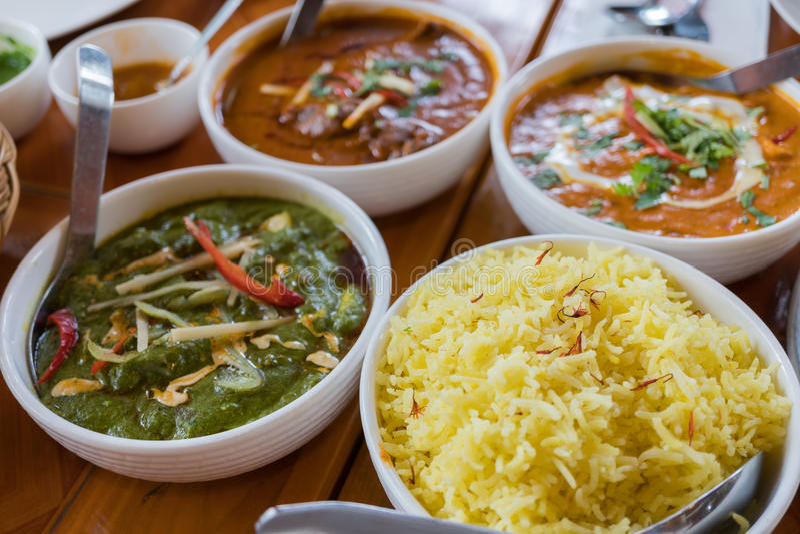 Comida india de la cocina imagen de archivo libre de regalías