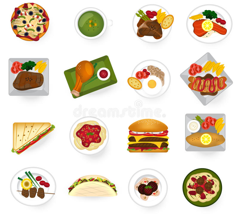 Comida internacional de la cocina de asiático al ser del americano y de Europa libre illustration