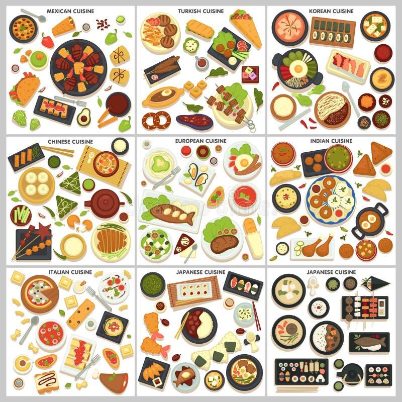 Comida internacional del men? de la cocina y cocinar viajar de los platos stock de ilustración