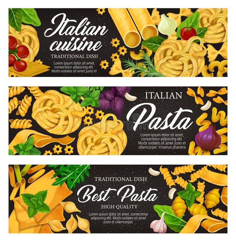 Comida italiana con las pastas, la hierba y la especia libre illustration
