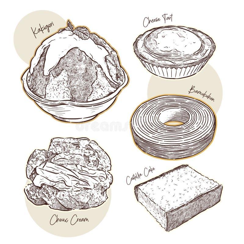 Comida japonesa, bocado vector del bosquejo del drenaje de la mano stock de ilustración