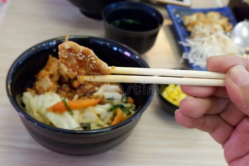 Comida japonesa, chuleta de cerdo del uso a comer fotos de archivo libres de regalías