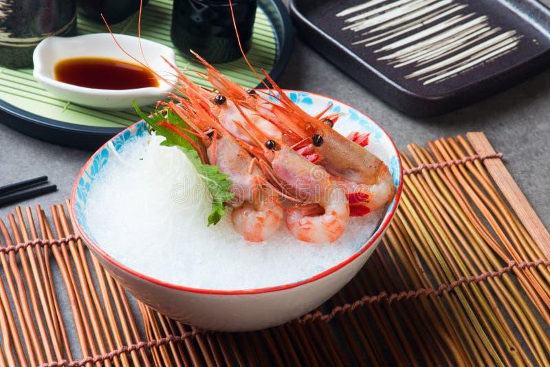 Comida japonesa de Amaebi del Sashimi dulce del camarón imagen de archivo libre de regalías