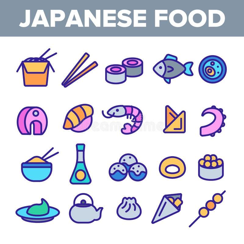 Comida japonesa, sistema linear de los iconos del vector del sushi stock de ilustración