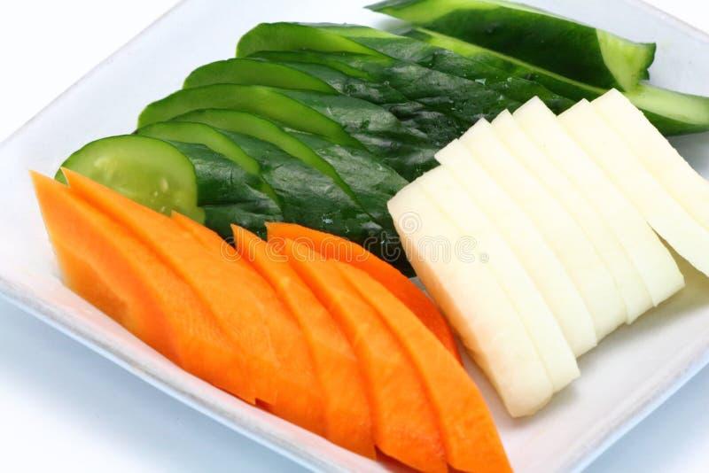 Comida japonesa, Tsukemono, verduras conservadas en vinagre japonesas imagen de archivo libre de regalías
