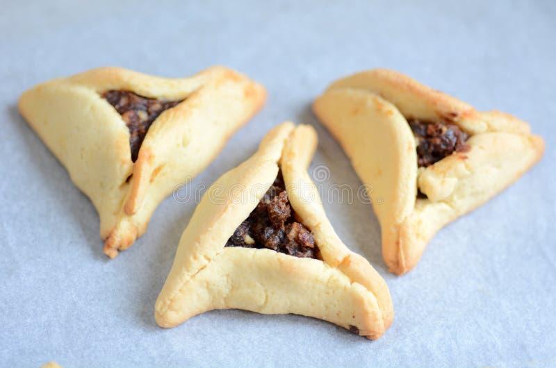 Comida judía del día de fiesta de Purim - Hamentashen, Ozen Haman fotografía de archivo