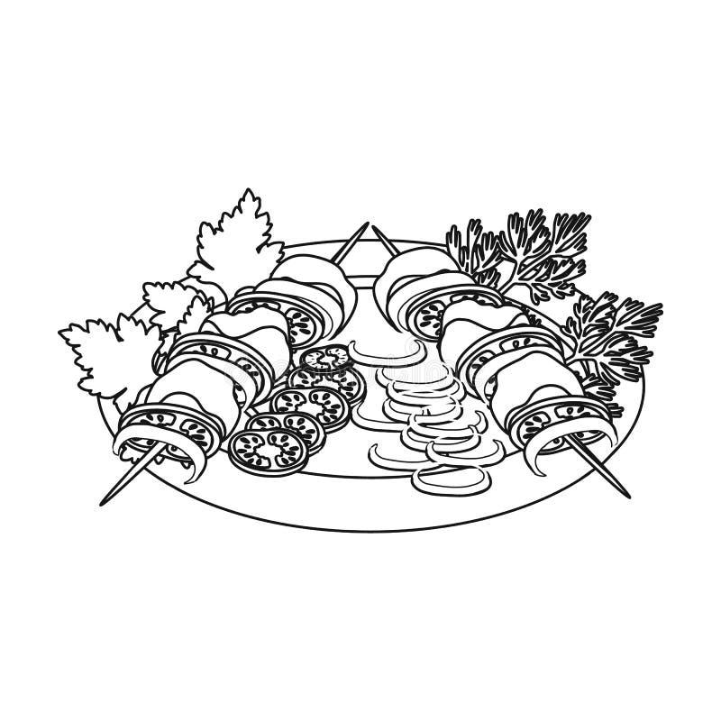 Comida, kebab y ensalada deliciosos Comida y cocinar el solo icono en el ejemplo de la acción del símbolo del vector del estilo d stock de ilustración