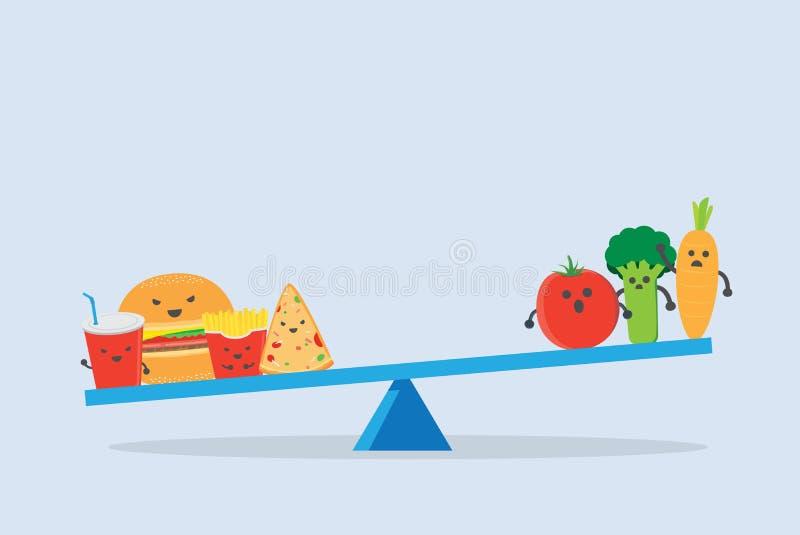 Comida lixo mais pesada do que o vegetal em escalas do equilíbrio ilustração do vetor