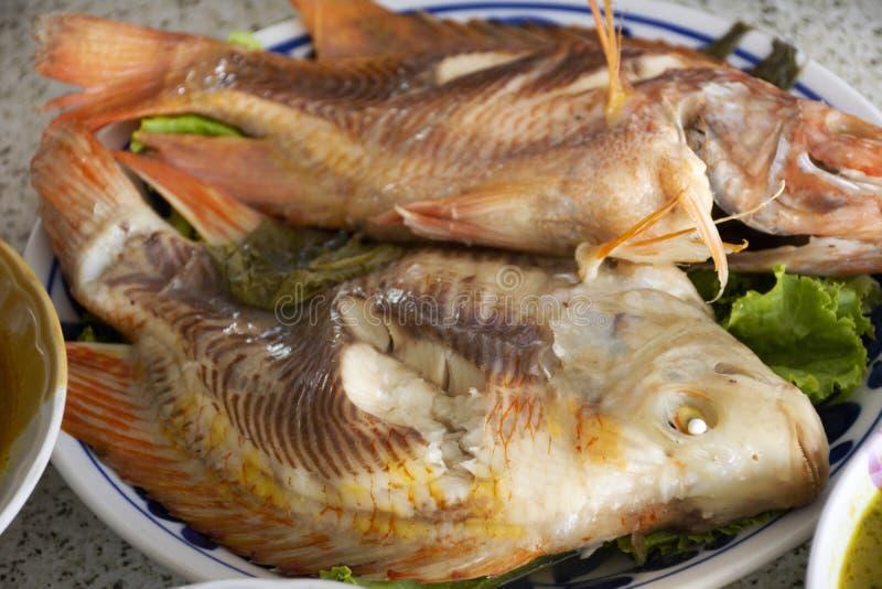 comida local tailandesa estilo sureño Tilapia rojo al vapor Pescado con hierba de verduras en plato y salsa agria picante para el foto de archivo libre de regalías
