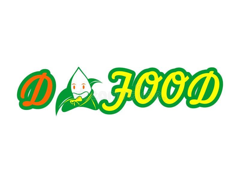 Comida Logo Vector, comida china de la calle de las bolas de masa hervida ilustración del vector