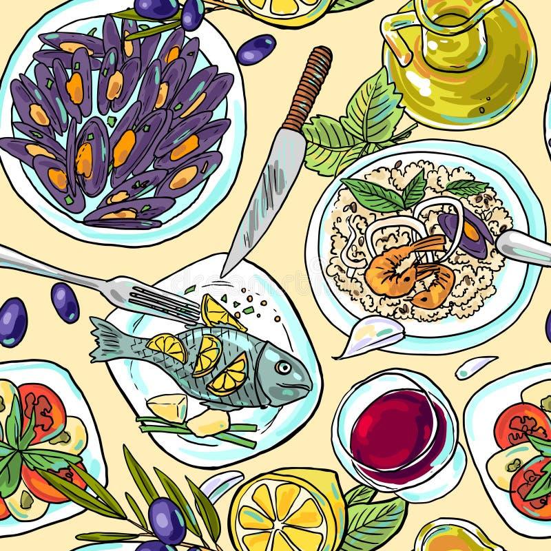 Comida mediterránea del modelo del mano-drenaje de Simpless stock de ilustración