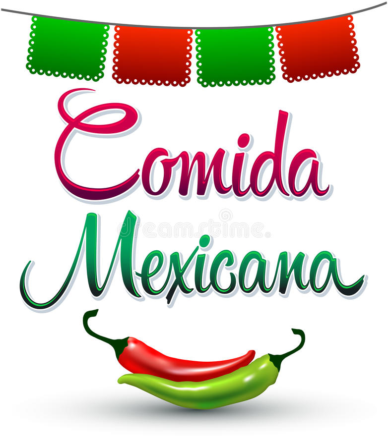 Comida Mexicana - μεξικάνικο ισπανικό κείμενο τροφίμων διανυσματική απεικόνιση