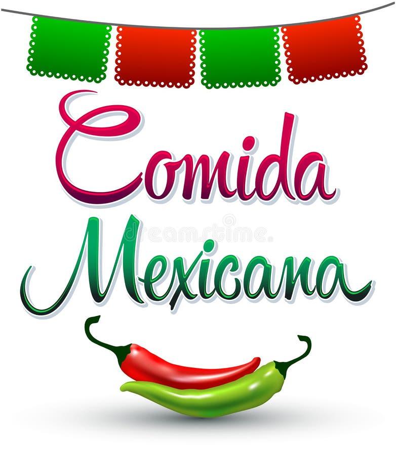Comida Mexicana - мексиканский текст испанского языка еды иллюстрация вектора