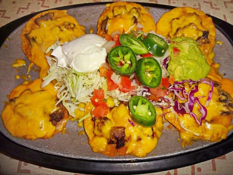 Comida mexicana de los Nachos caseosos de la carne de vaca foto de archivo libre de regalías