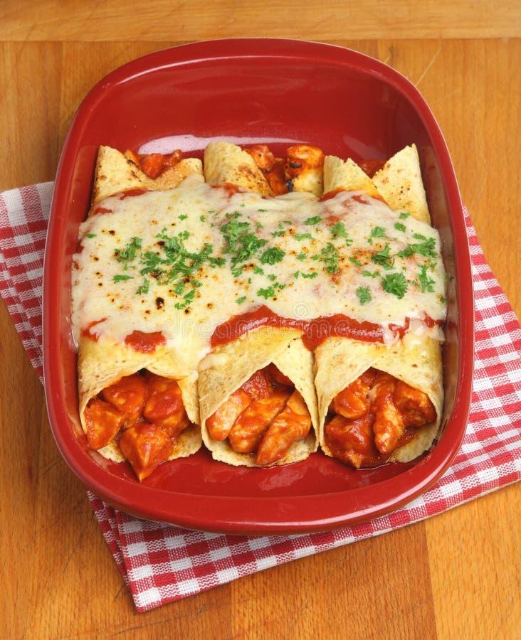Comida mexicana, Enchiladas del pollo fotos de archivo libres de regalías