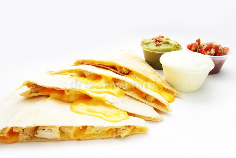 Chicken quesadilla Mexican food royalty free stock images