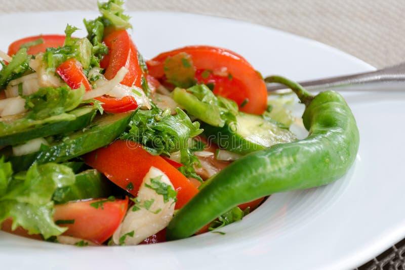Comida natural sana, ensalada fresca con las verduras en placa fotografía de archivo libre de regalías