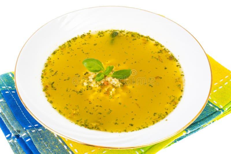 Comida para bebé Sopa de galinha com massa imagem de stock