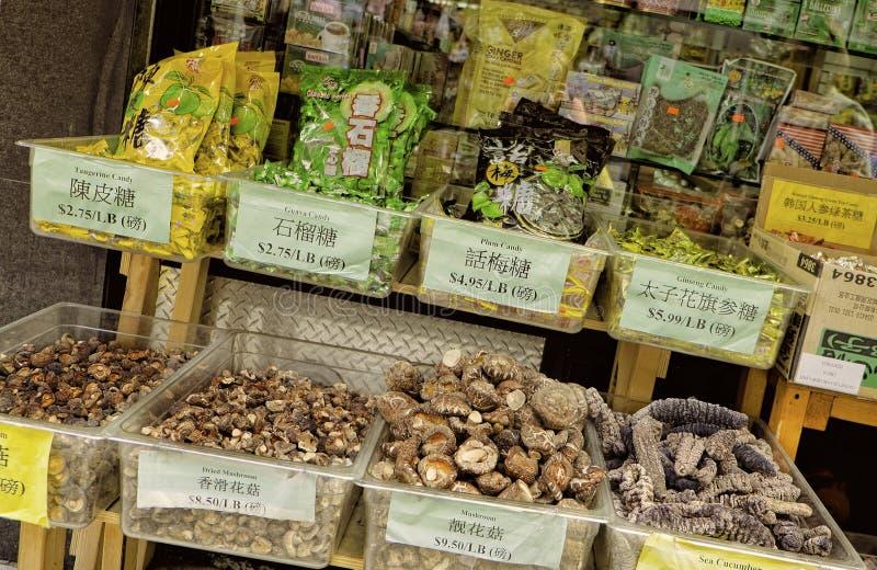 Comida para la venta, Chinatown, Nueva York foto de archivo libre de regalías