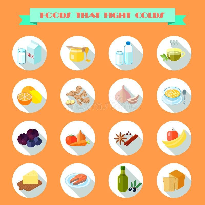 Comida para los iconos fríos stock de ilustración