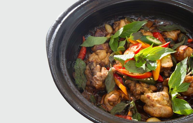 Comida picante tailandesa, pollo sofrito con albahaca fotografía de archivo