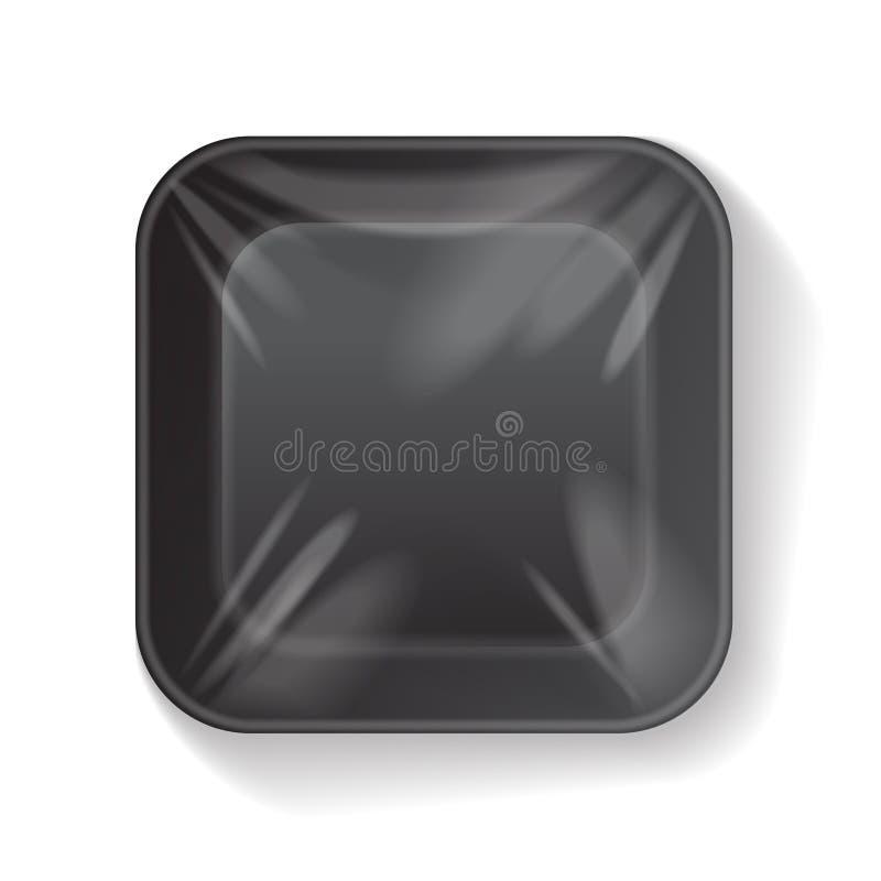 Comida plástica Tray Container de la espuma de poliestireno del espacio en blanco de la casilla negra Mofa del vector encima de l libre illustration