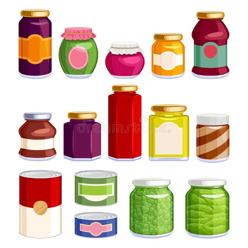 Comida preservada en tarros y latas stock de ilustración