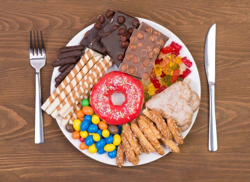 Comida que contiene demasiado azúcar en una placa imágenes de archivo libres de regalías