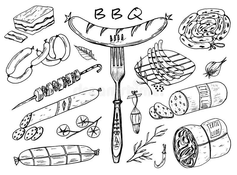 Comida, salchicha y filete de la carne para el Bbq y la comida campestre Muestras del garabato para el menú Ilustración grabada v ilustración del vector