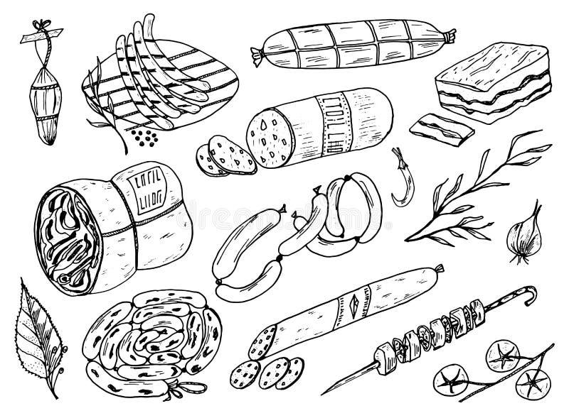 Comida, salchicha y filete de la carne para el Bbq y la comida campestre Muestras del garabato para el menú Ilustración grabada v stock de ilustración