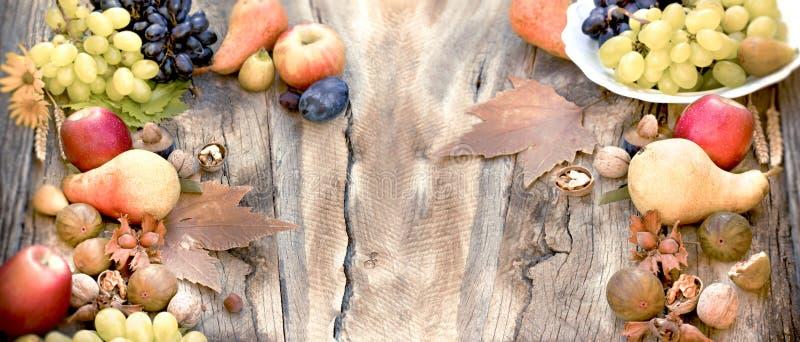 Comida saludable en mesa rústica, fruta orgánica de temporada y otoño imagen de archivo libre de regalías