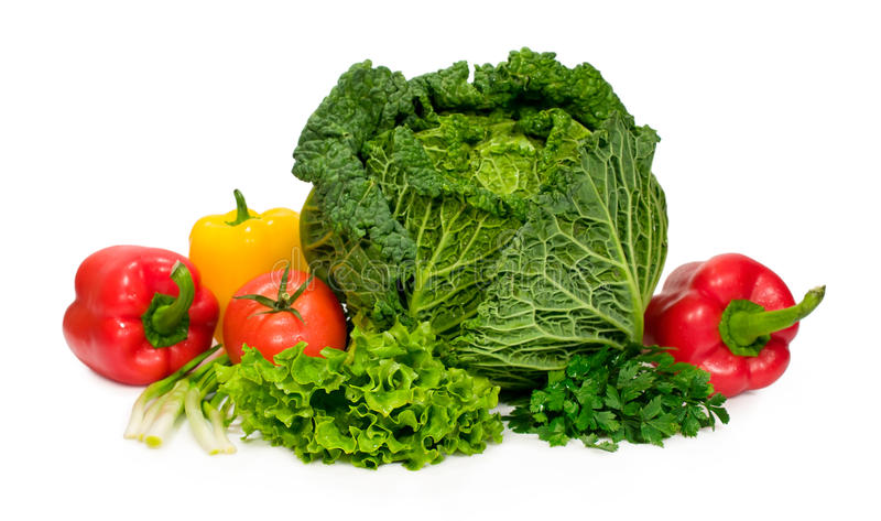 Comida sana: coliflor, pimientas, tomates, lechuga y perejil imagen de archivo libre de regalías