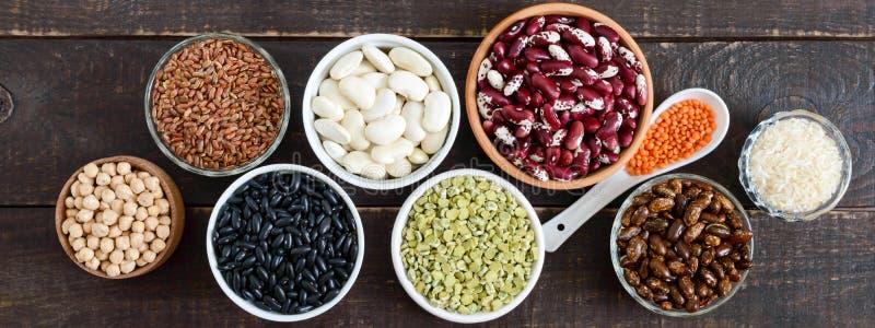 Comida sana, dieta, concepto de la nutrición, proteína del vegano y fuente del carbohidrato fotografía de archivo