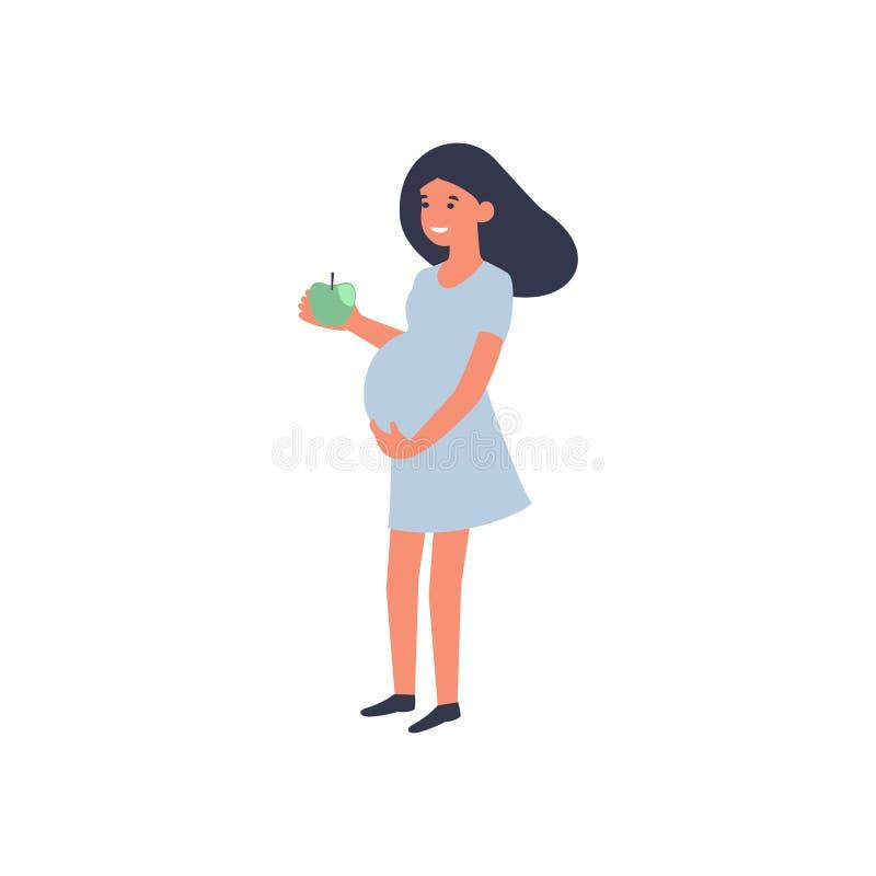 Comida sana y concepto del embarazo Situación de la mujer embarazada con la manzana Nutrici?n y dieta durante embarazo stock de ilustración