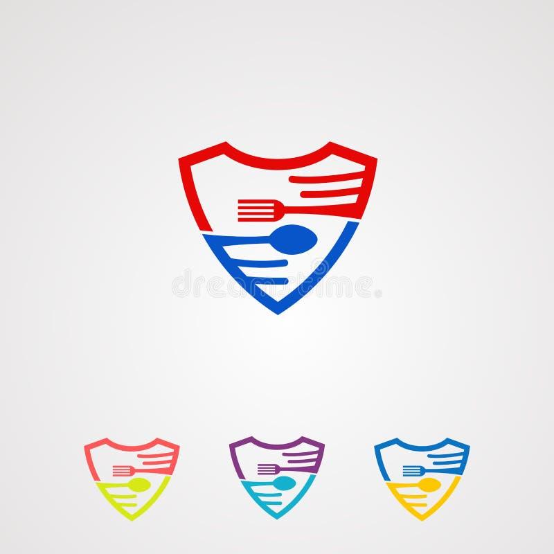 Comida segura con concepto, icono, el elemento digital, y la plantilla del vector del logotipo del sistema de la cuchara y de la  ilustración del vector