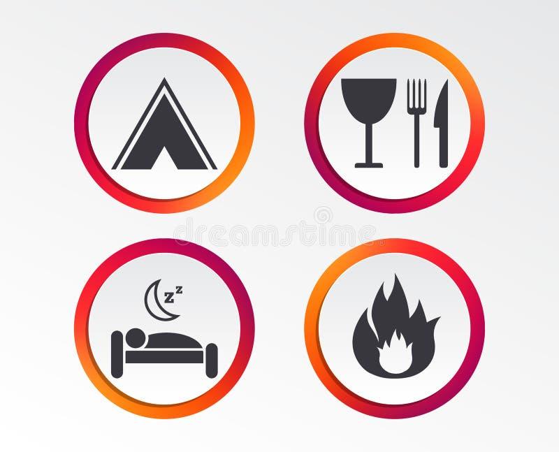 Comida, sueño, tienda de campaña y muestras del fuego libre illustration