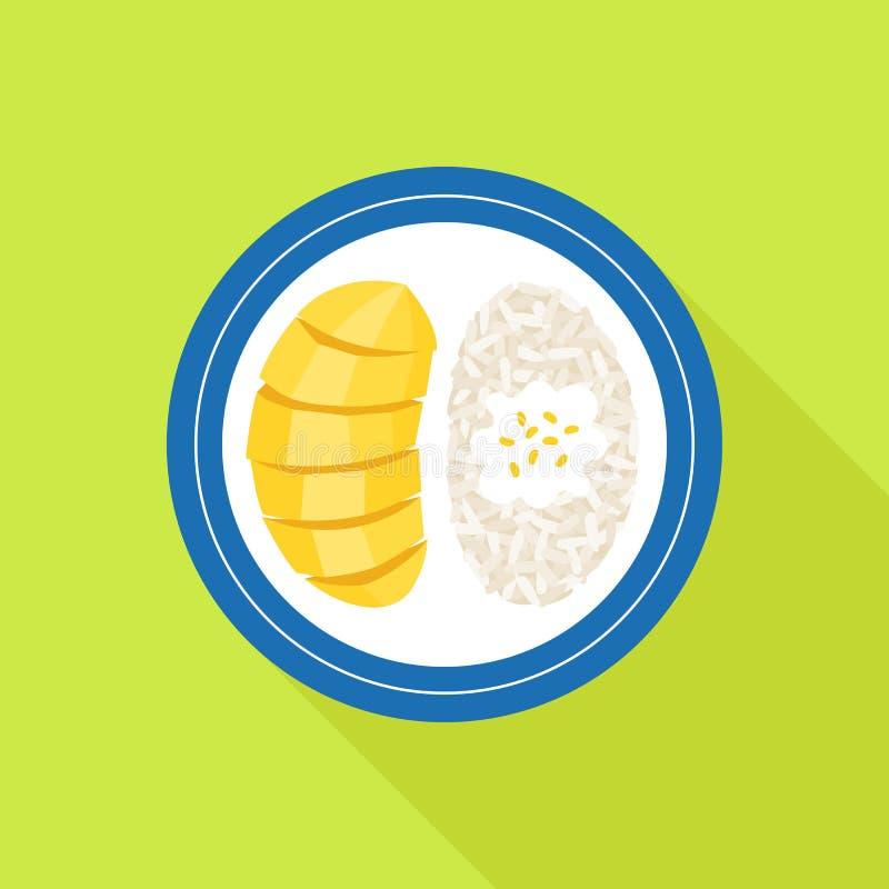 Comida tailandesa, mango con arroz pegajoso stock de ilustración
