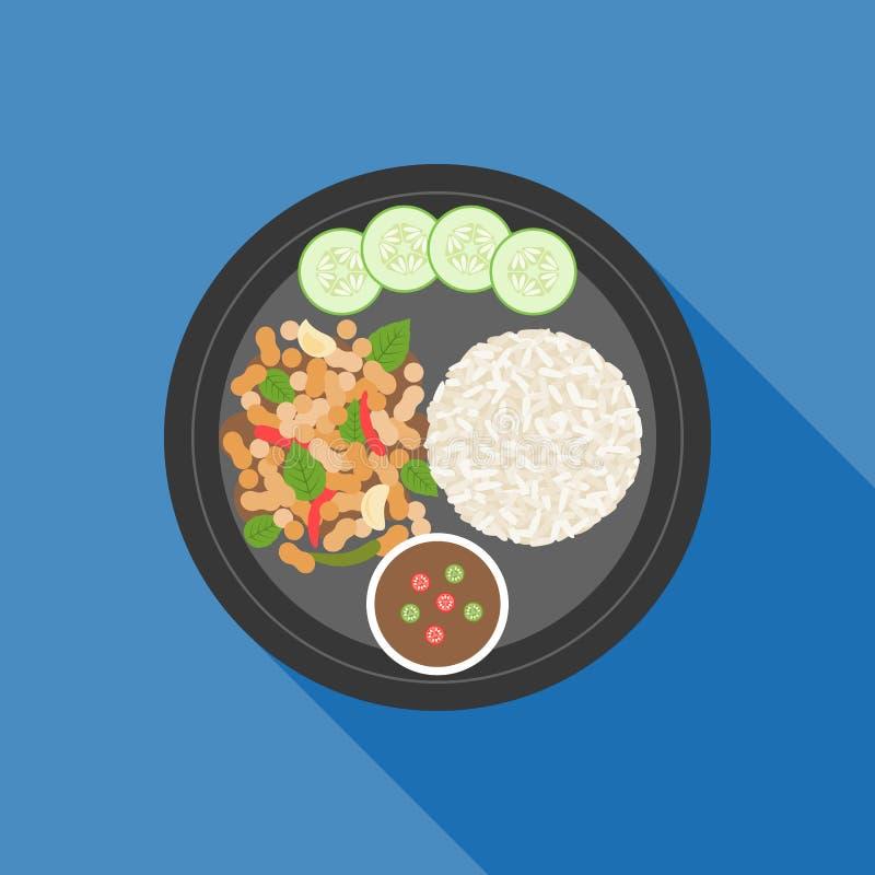 Comida tailandesa, sofrito del pollo del praoBasil de ka del cojín ilustración del vector