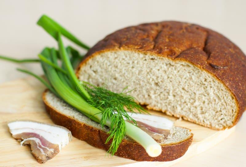 Comida ucraniana nacional, pan negro y manteca de cerdo con las cebollas verdes fotos de archivo