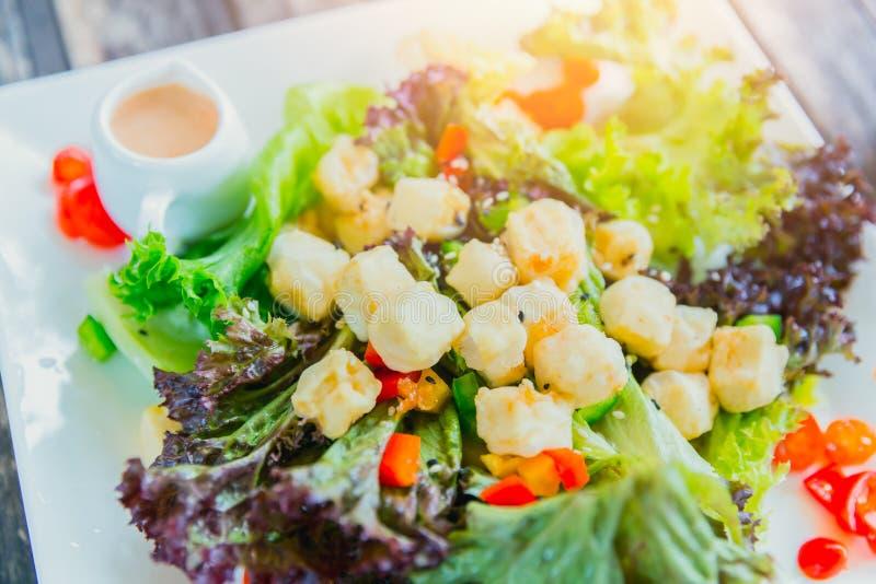 Comida vegetariana de las verduras de la ensalada mezclada del queso de soja con la ensalada fotografía de archivo