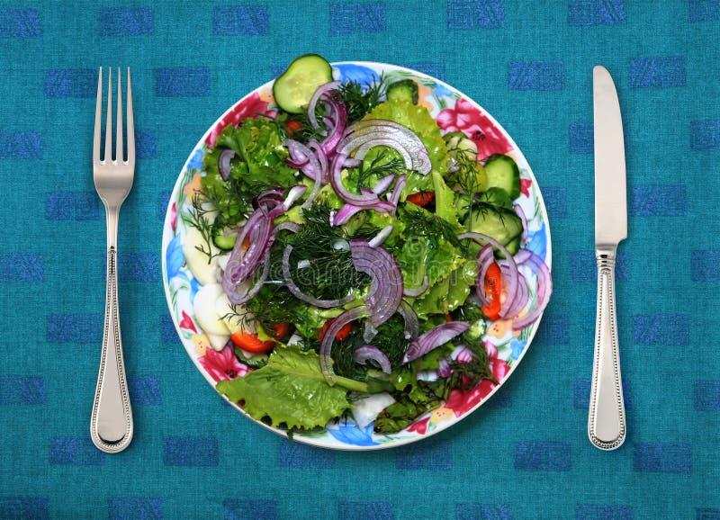 Comida vegetariana en la placa blanca imagen de archivo libre de regalías