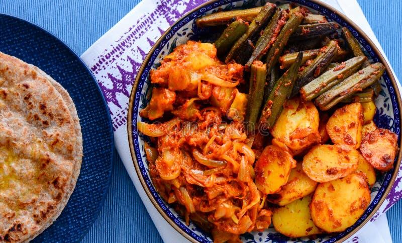 Comida vegetariana india - segundo plato al norte indio imagen de archivo libre de regalías