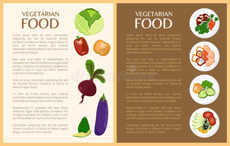 Comida vegetariana, verduras y platos sanos ilustración del vector