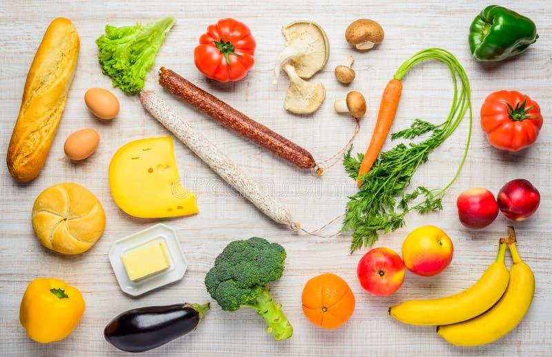 Comida, verduras y frutas sanas de desayuno fotografía de archivo