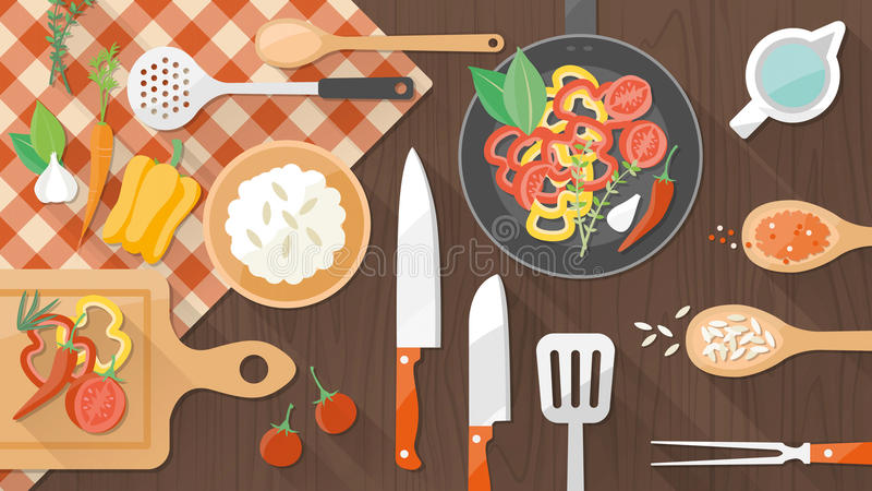 Comida y bandera el cocinar stock de ilustración