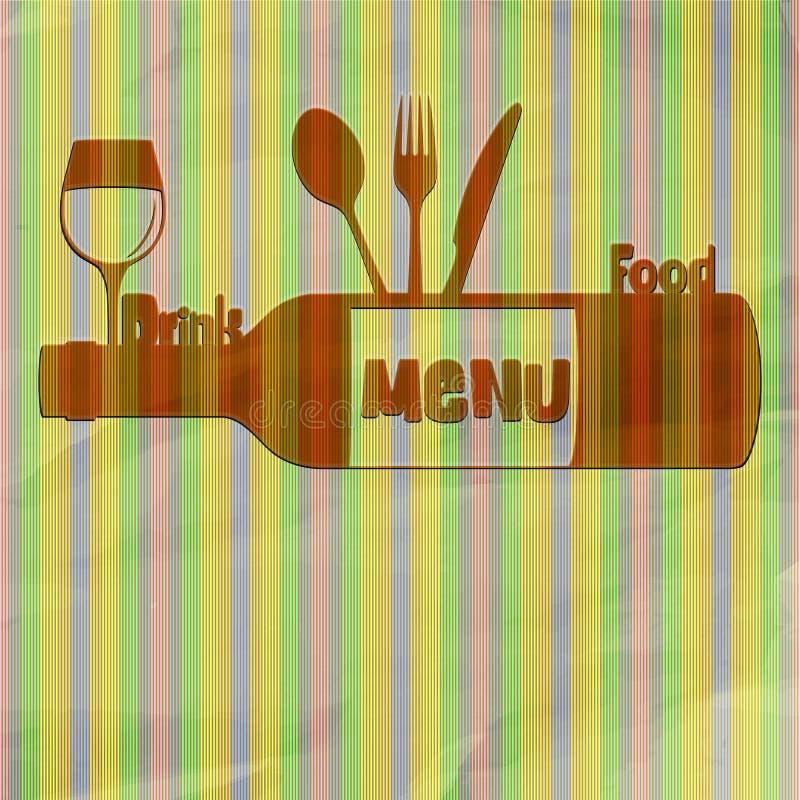 Comida y bebida del menú del restaurante ilustración del vector