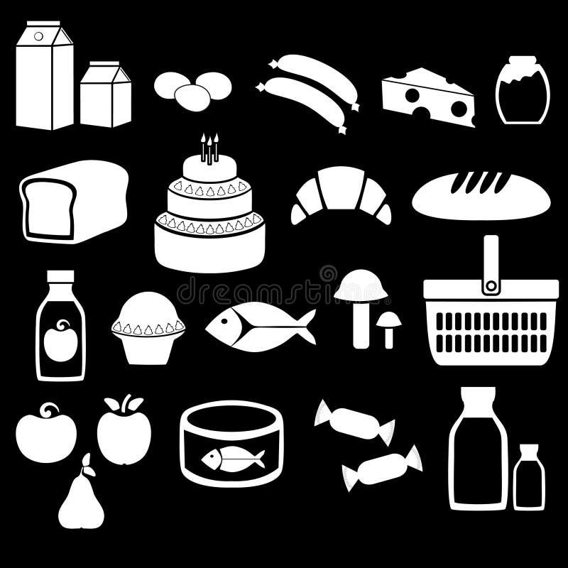 Comida y bebida grocery Iconos fijados Ilustración del vector libre illustration