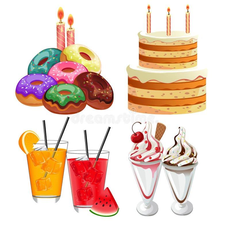 Comida y bocado del cumpleaños ilustración del vector