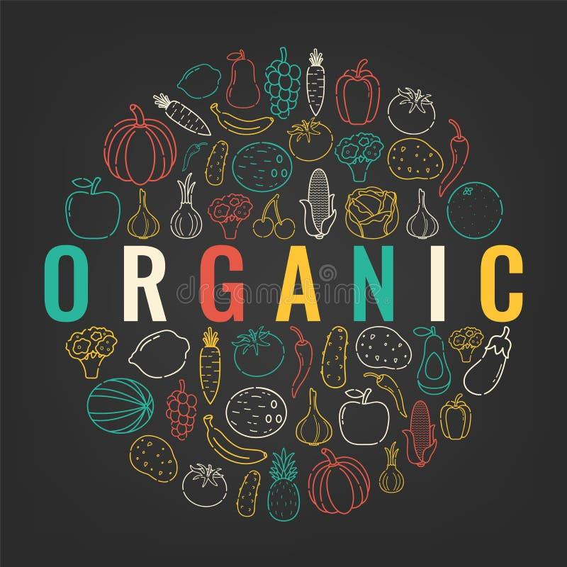 Comida y fondo de la bebida Alimento biológico Frutas y verdura Concepto sano de la consumición Vector stock de ilustración