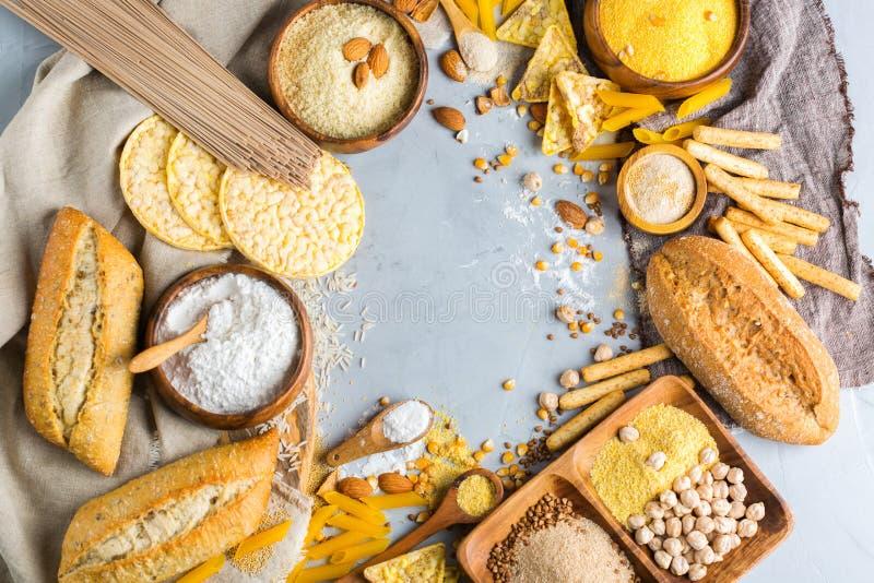 Comida y harina libres, almendra, maíz, arroz, garbanzo del gluten foto de archivo